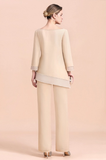Chic Round-Neck Champagne Chiffon Mother of Bride Jumpsuit Online_3