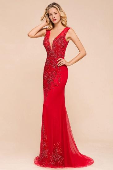 Detachable Red V-Neck Long Prom Dress Sleeveless Beadings Tulle Evening Gowns_8