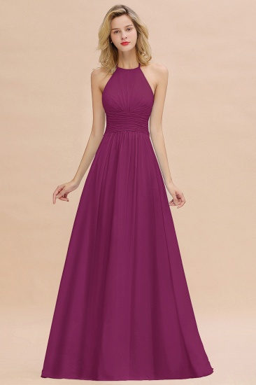 Glamorous Halter Backless Long Affordable Bridesmaid Dresses with Ruffle_42