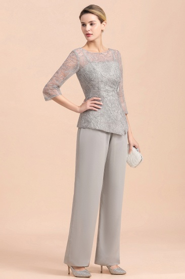 Elegant 3/4 Sleeves Lace Chiffon Affordable Mother of Bride Jumpsuit Online_5