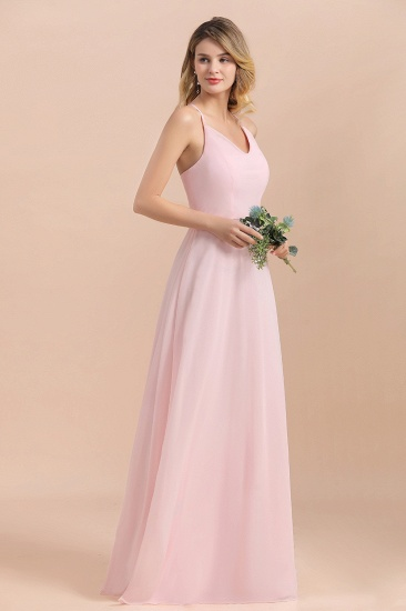 Chic Spaghetti Straps Chiffon Pink Bridesmaid Dresses with Crisscross Back_5