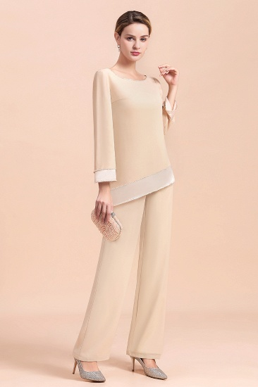 BMbridal Chic Round-Neck Champagne Chiffon Mother of Bride Jumpsuit Online_11