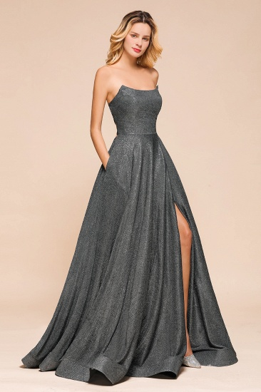 BMbridal Shinning Strapless Long Prom Dress Lace-up Evening Gowns With Split_8