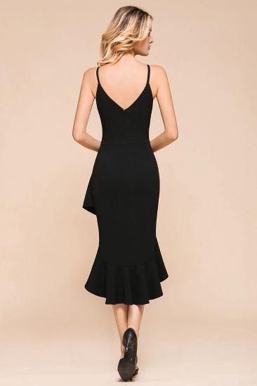 Sexy Black Spaghetti-Strap Short Prom Dress Mermaid Ruffles Homecoming Dress_3