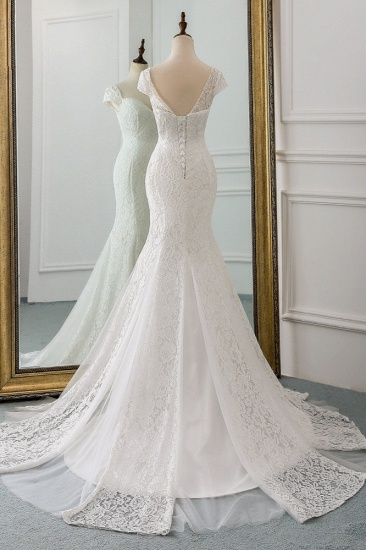 Elegant Lace Cap-Sleeves Sweetheart Mermaid Wedding Dresses Online_3