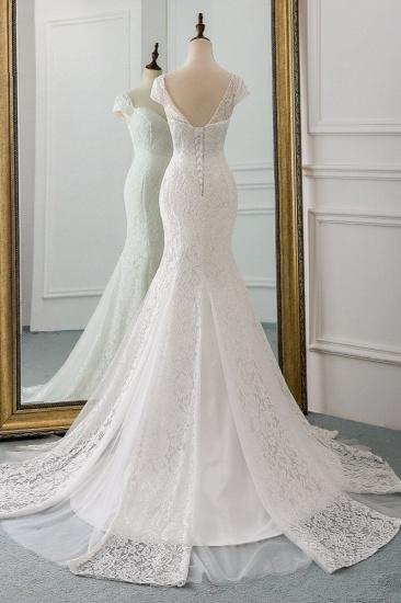 BMbridal Elegant Lace Cap-Sleeves Sweetheart Mermaid Wedding Dresses Online_3