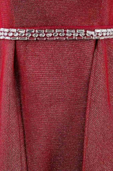 Gorgeous Off-the-Shoulder Beading Burgundy Prom Dress with Sash_6