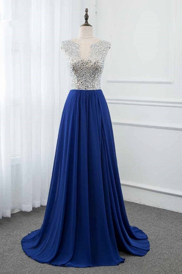 Sparkly Chffon V-Neck Front Slit Royal Blue Prom Dresses with Beading Top