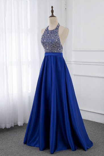 Gorgeous Satin Halter Ruffle Backless Prom Dresses with Beadings Top_4