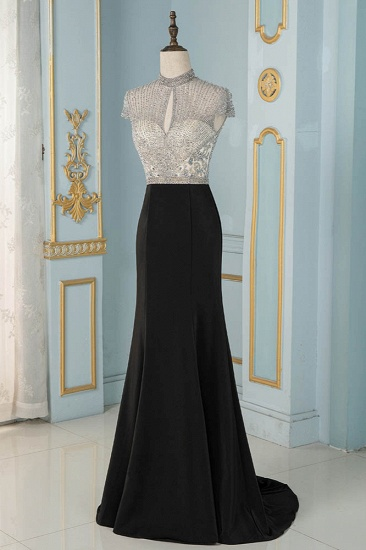 Luxury High-Neck Short-Sleeves Mermaid Prom Dresses with Beading Top_4