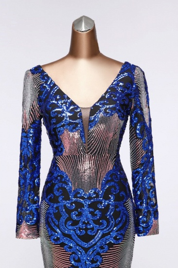 Sparkly Sequined V-Neck Mermaid Long Prom Dresses with Long Sleeves Online_7