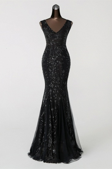 Luxury Tulle V-Neck Sleeveless Mermaid Prom Dress with Sequins_3