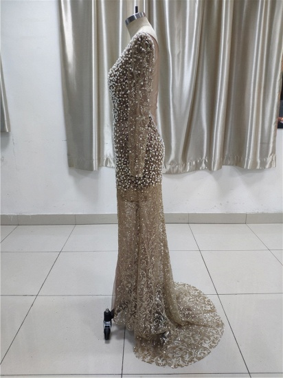 Luxury Lace Long Sleeves Slit Prom Dresses with Appliques Pearls Online_4