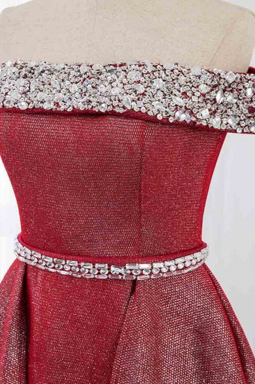Gorgeous Off-the-Shoulder Beading Burgundy Prom Dress with Sash_5