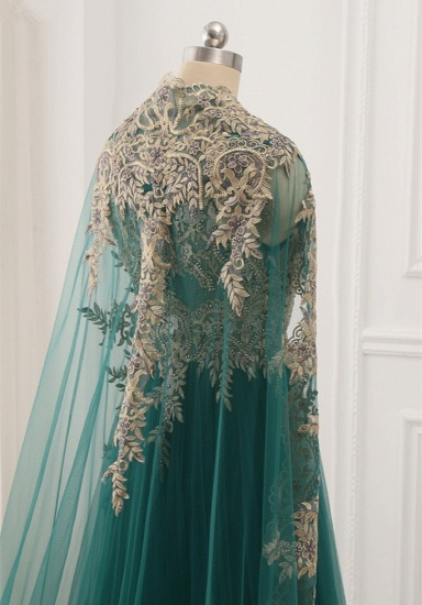 Elegant Tulle Jewel Beading Appliques Prom Dresses with Ruffles Online_8