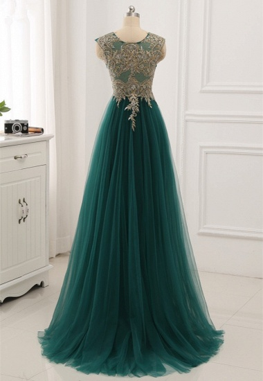 Elegant Tulle Jewel Beading Appliques Prom Dresses with Ruffles Online_3