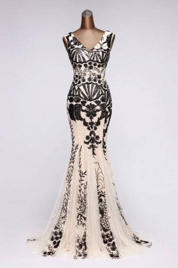 Luxury V-Neck Sequins Mermaid Prom Dresses with Open Back Online_2