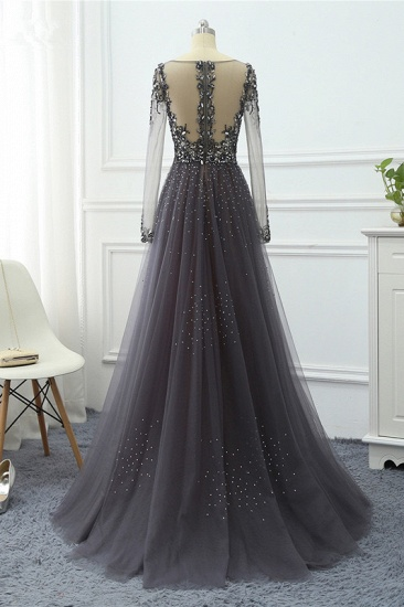 Elegant V-Neck Long Sleeves Appliques Beadings Prom Dresses with Overskirt_10