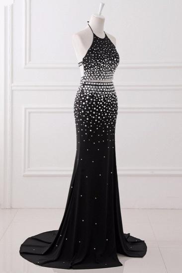 Luxury Chiffon Halter Sleeveless Beadings Prom Dresses with Front Slit Online_4