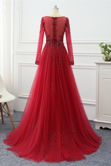 Elegant V-Neck Long Sleeves Appliques Beadings Prom Dresses with Overskirt_6