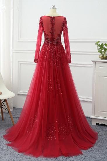 BMbridal Elegant V-Neck Long Sleeves Appliques Beadings Prom Dresses with Overskirt_6