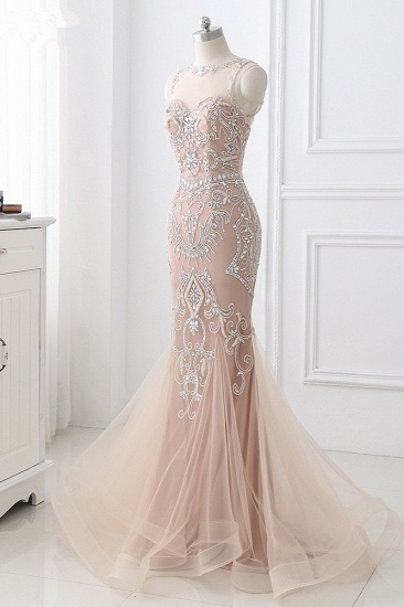 BMbridal Affordable Tulle Jewel Sleeveless Mermaid Prom Dress with Appliques_4