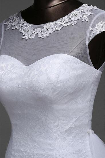 Glamorous Lace Jewel White Mermaid Wedding Dresses with Beadings Online_8