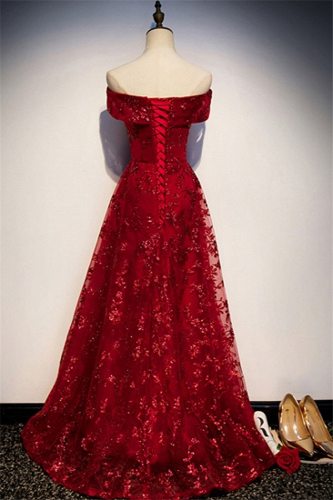 Gorgeous Off-the-Shoulder Sleeveless Burgundy Prom Dresses with Appliques_3
