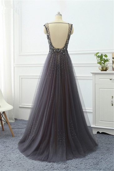 Elegant Tulle V-Neck Ruffle Beadings Prom Dresses with Appliques_5