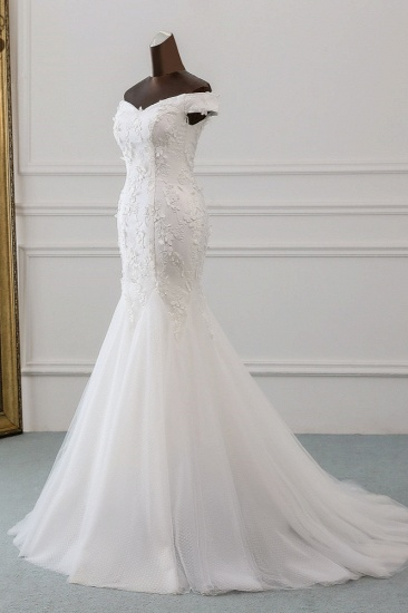 BMbridal Gorgeous Tulle Sweetheart Long Mermaid Wedding Dresses with Lace Online_4