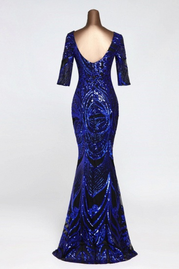 Gorgeous Sequined V-Neck Mermaid Prom Dresses with Half Sleeves Online_11
