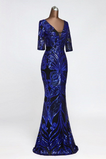 Gorgeous Sequined V-Neck Mermaid Prom Dresses with Half Sleeves Online_10