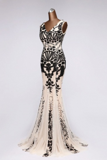 BMbridal Luxury V-Neck Sequins Mermaid Prom Dresses with Open Back Online_4