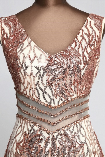BMbridal Sparkly Sequined Sleeveless Mermaid Pink Long Prom Dresses with Beadings_7