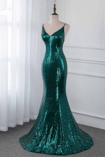BMbridal Sparkly Sequined Spaghetti Straps V-Neck Prom Dresses with Backless Online_4
