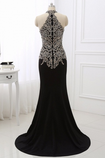 Chic High-Neck Sleeveless Black Mermaid Prom Dresses with Appliques Beadings_5