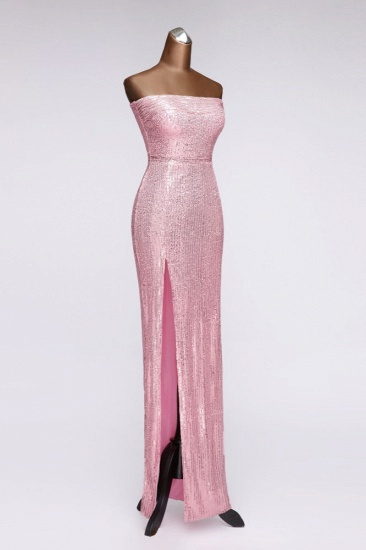 Chic Strapless Front Slit Sheath Prom Dresses with Sequins Online_4