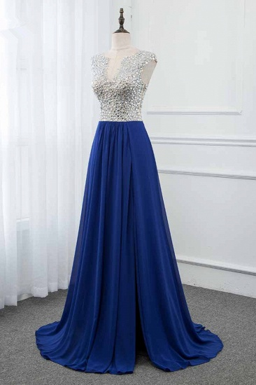 Sparkly Chffon V-Neck Front Slit Royal Blue Prom Dresses with Beading Top_4