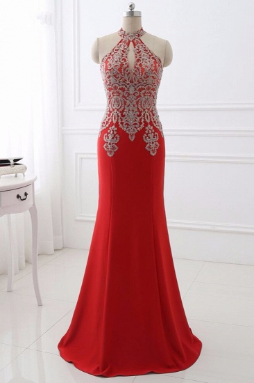 Chic High-Neck Sleeveless Black Mermaid Prom Dresses with Appliques Beadings_2