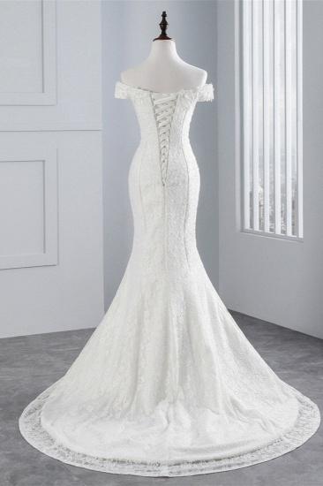 BMbridal Elegant Lace Off-the-Shoulder White Mermaid Wedding Dresses Affordable Online_3