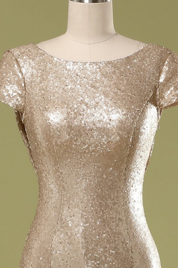 Sparkly Sequined Jewel Sheath Prom Dress with Short Sleeves and Draped Back_6