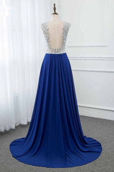 Sparkly Chffon V-Neck Front Slit Royal Blue Prom Dresses with Beading Top_3