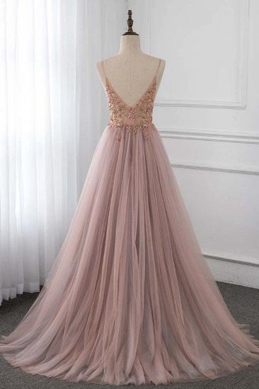 BMbridal Elegant Tulle Spaghetti Straps Appliques Prom Dresses with Front Slit Online_3