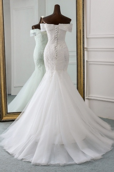 Glamorous Tulle Lace Off-the-Shoulder White Mermaid Wedding Dresses Online_3