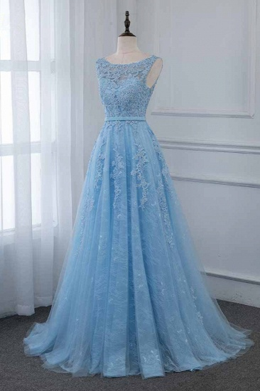 Affordable Jewel Sleeveless A-line Prom Dresses with Lace Online_4