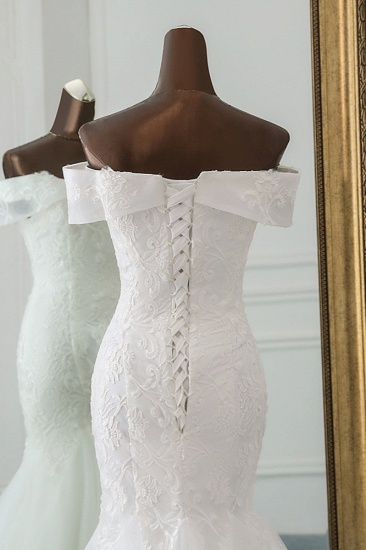 Glamorous Tulle Lace Off-the-Shoulder White Mermaid Wedding Dresses Online_7