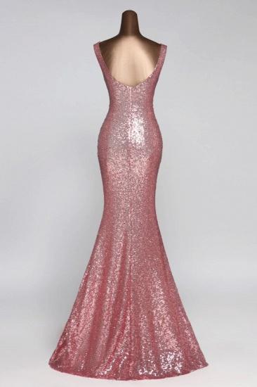 BMbridal Affordable V-Neck Pink Mermaid Prom Dresses with Front-Slit Online_4