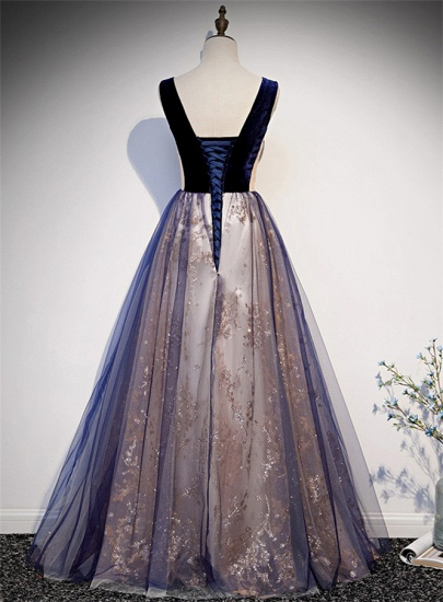 Affordable Tulle V-Neck Sleeveless Beading Prom Dresses with Appliques Online_3