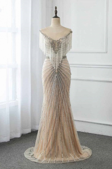BMbridal Luxury Tulle Jewel Beadings Mermaid Prom Dresses with Tassels Online_1