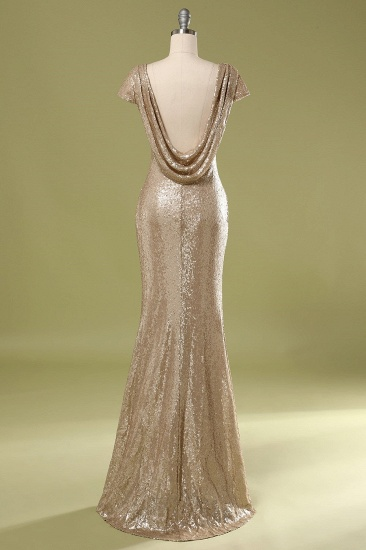 Sparkly Sequined Jewel Sheath Prom Dress with Short Sleeves and Draped Back_3